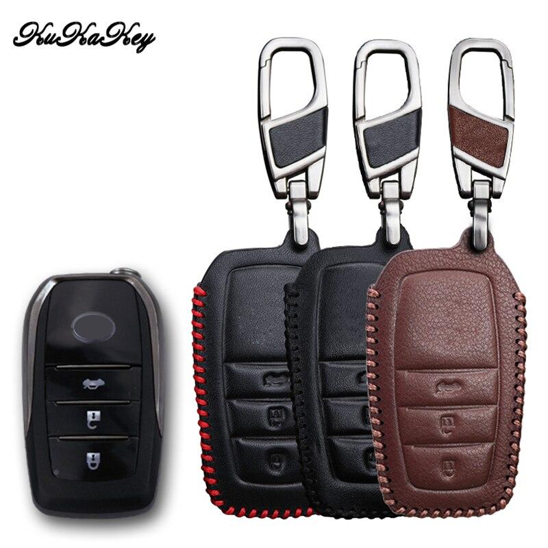 KUKAKEY Genuine Leather Car Key Case Protector Fit For Toyota Crown Camry Highlander Key Cover Holder For Toyota RAV4 EZ
