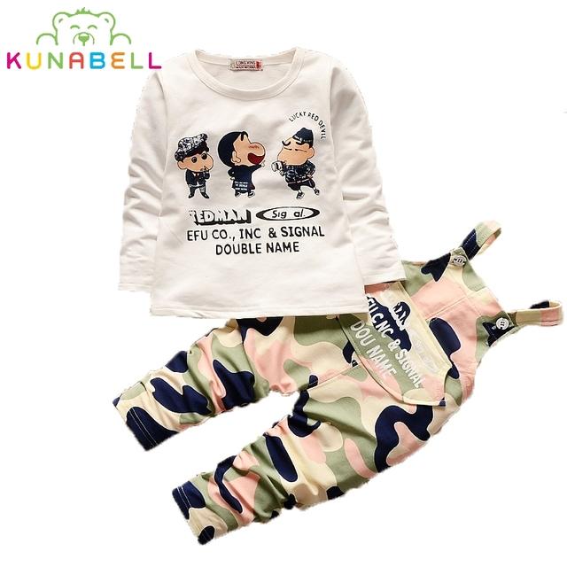 2016 Conjuntos de Ropa de Bebé Otoño Bebé Niños Niñas Ropa de la Historieta de manga Larga Camisa + pantalones de Camuflaje 2 unids Niños ropa Set L153
