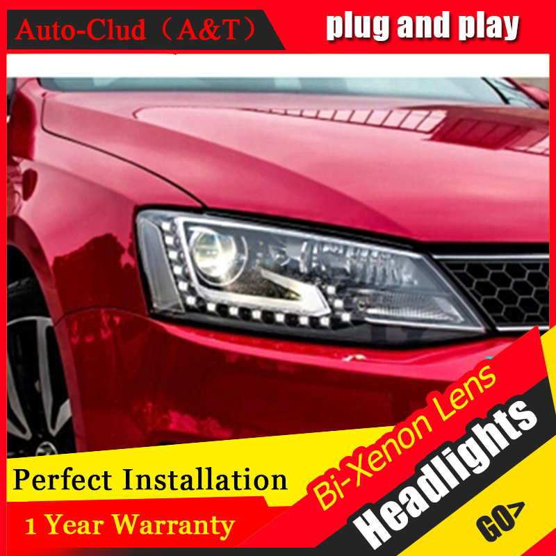 Auto Clud 2011-2014 For vw jetta mk6 headlights car styling For vw jetta head lamps parking LED + H7 HID kit + bi xenon len led headlights for vw volkswagen golf 6 mk6 2010 2014 uu type drl led headlights demon eyes