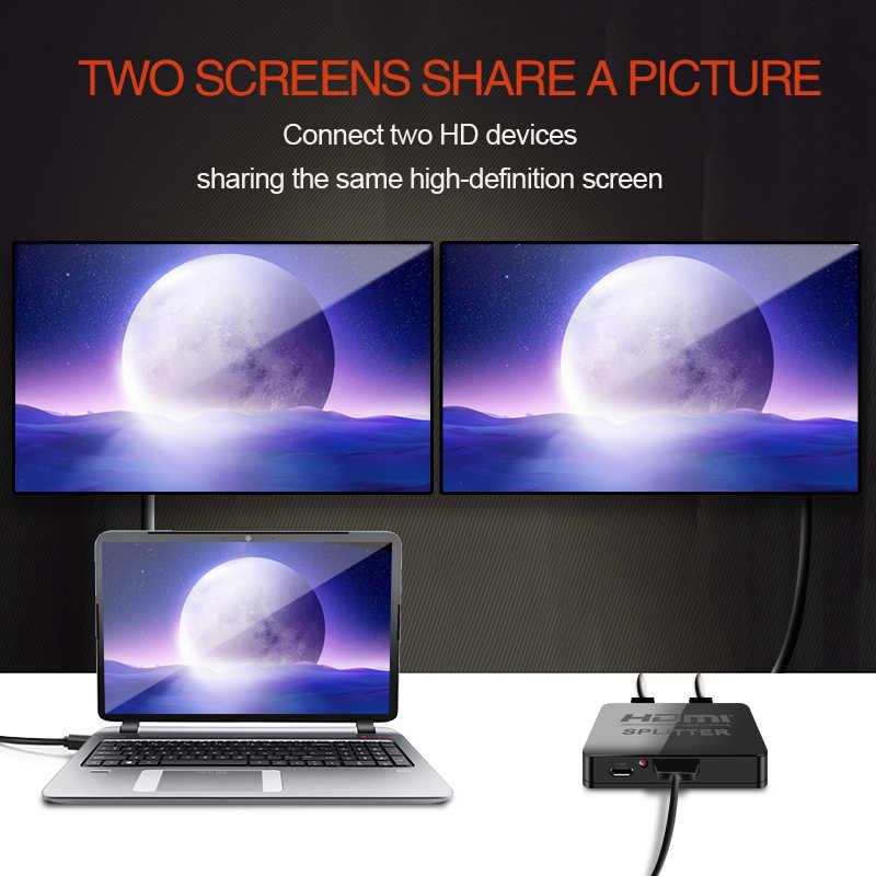 4K Bộ Chia Tín Hiệu HDMI Full HD 1080p Video Switch HDMI Switcher 1X2 Chia 1 Sang 2 bộ khuếch đại Màn Hình Hiển Thị Kép Cho HDTV DVD Cho PS3 Xbox