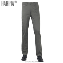 HARPIA High Quality Cotton Business Mens Casual Pants Male Summer Thin Regular Elastic Army Green Straight Trousers