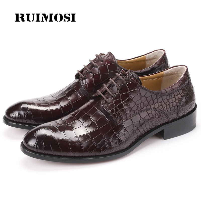 RUIMOSI Top Quality Round Toe Formal Man Dress Shoes Genuine Leather Derby Oxfords Luxury Wedding Men's Bridal Footwear CE20