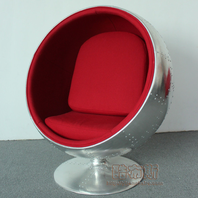 Cool Booth Aluminum Skin Aviator Style Loft Metal Ball Chair Retro Styling Chair  Chair Leather Sofa