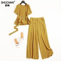 Shuchan комплект из 2 частей Для женщин Conjunto Feminino Офисные женские туфли короткий рукав на молнии Топ + Штаны полной длины желтый черный Для женщи