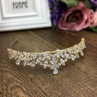 Gold Full Cubic Zircon Tiara Zirconia Crown CZ Diadema Coroa De Novia Wedding Hair Accessories Jewelry Bijoux Cheveux WIGO1028