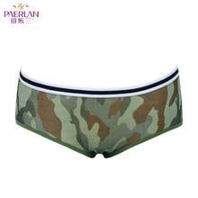 PAERLAN Green Women Pantie Stripes Lycra Low Waist Briefs Se