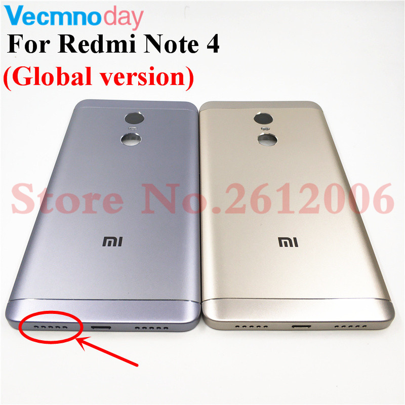 New Metal Battery Door Back Rear Cover For Xiaomi Redmi Note 4 Global Version Case Housing With Camera Lens+Power Volume Buttons