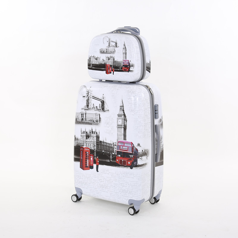14 24inches(2pieces/set) pc hardside london tower <font><b>phone</b></font> travel luggage case <font><b>on</b></font> universal <font><b>wheels</b></font>,girl and boy trolley luggage set