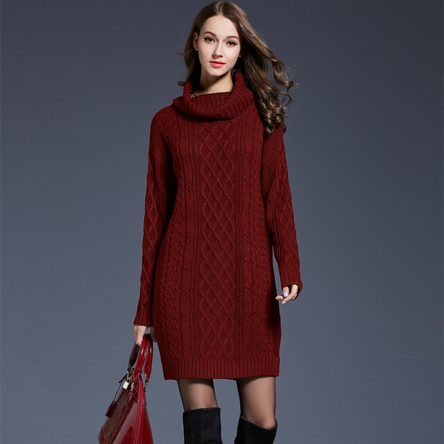 2018 Women Fashion Turtleneck Thick Sweater Dresses Plus Size Casual ...