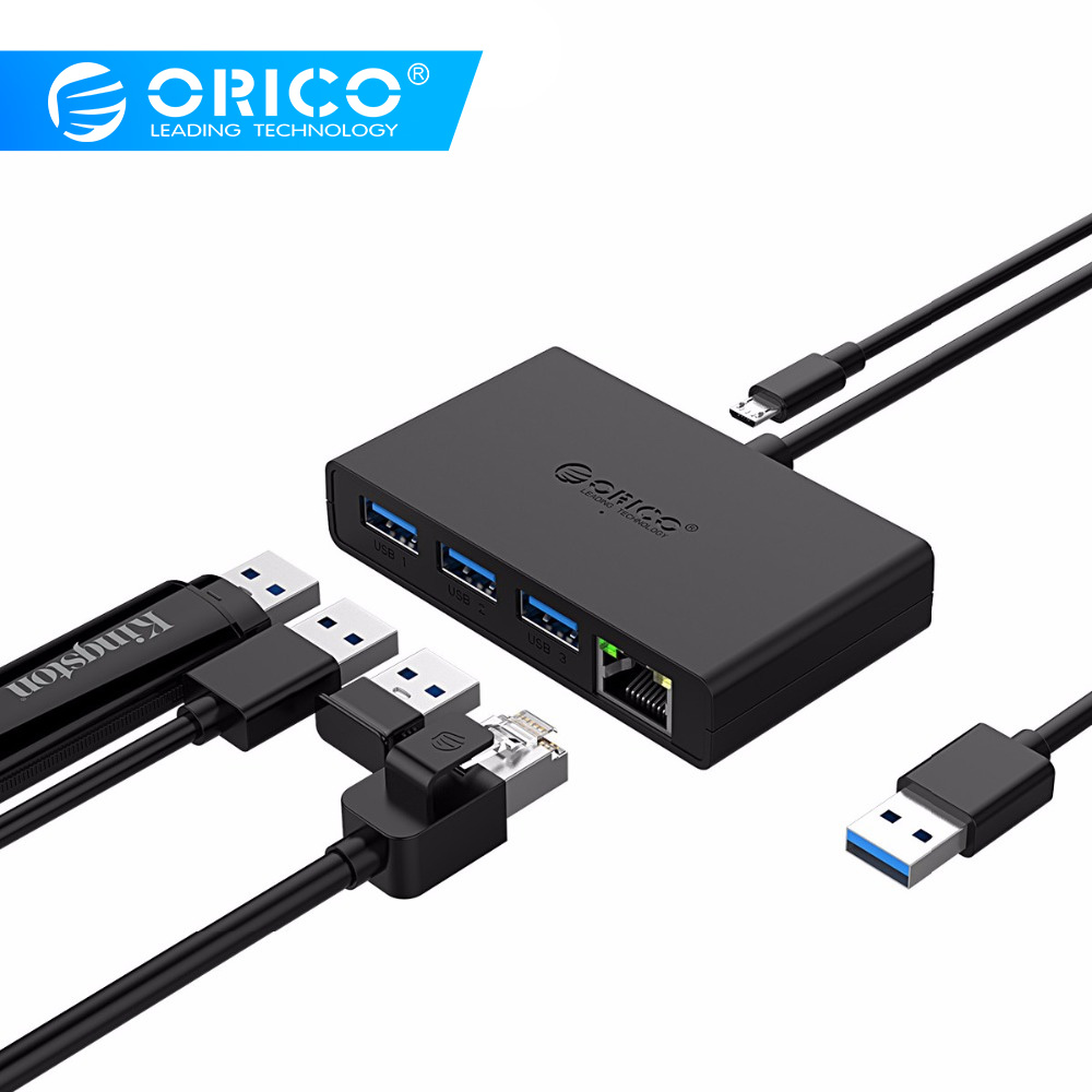 ORICO USB3.0+Gigabit Ethernet Port HUB Mini Hub For Desk,Ofiice,Home USB3.0 Hub