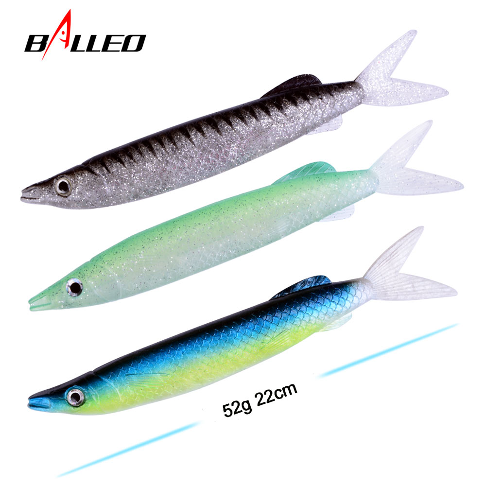 BALLEO 1PCS <font><b>barracuda</b></font> deep sea soft <font><b>lure</b></font> 22cm 52g ripper silicone bait large artificial simulation bait <font><b>fishing</b></font> accessories image