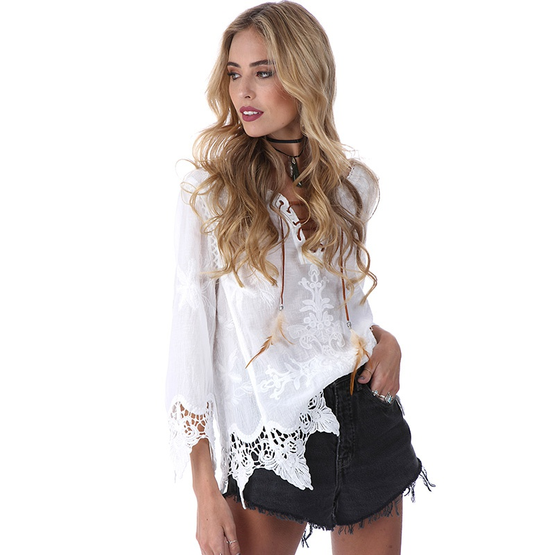 Summer Women Elegant Crochet Floral Lace Blouse Shirt 3/4 Sleeve White Tunic Blouses Boho Girls Hollow Tops