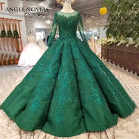 ANGEL NOVIAS Long Sleeves Green Muslim Plus Size Ball Gown Puffy Bridal Gown Lace Up Wedding Dress 2019