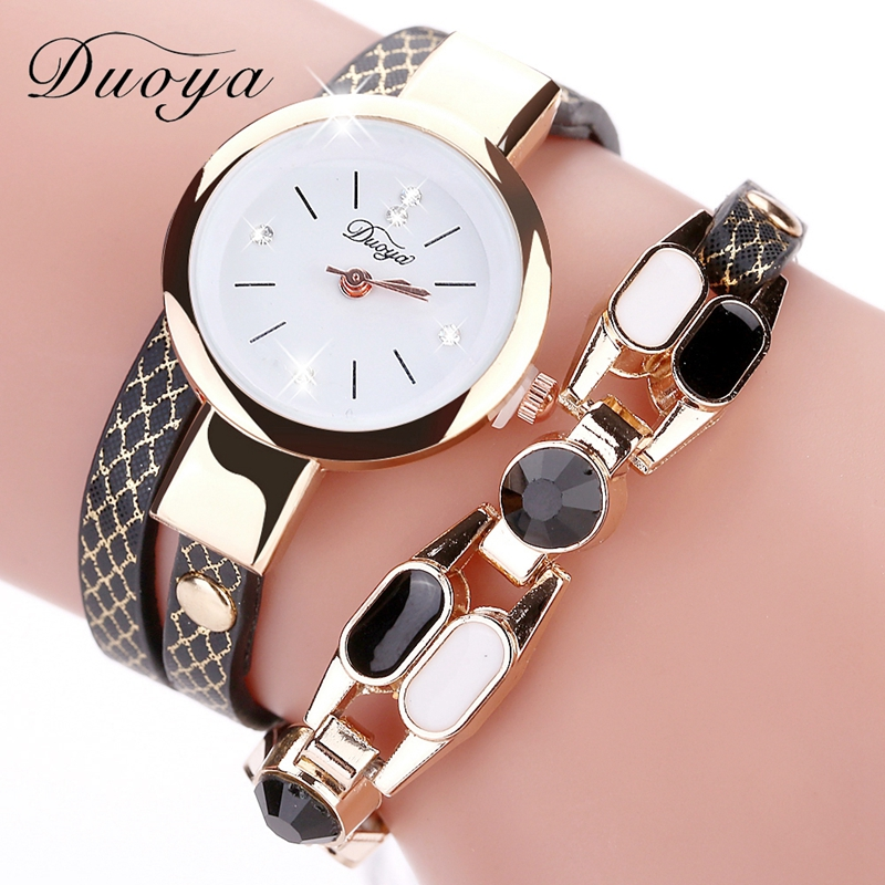 Duoya Brand Women Quartz Wristwatch Fashion Ladies Dress Leather Band Women Bracelet Dropshipping Luxury Casual Vintage Watches duoya brand bracelet watches for women luxury gold crystal fashion quartz wristwatch clock ladies vintage watch dropshipping
