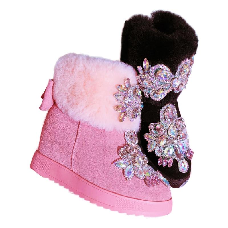 Bling Crystals Women Snow Boots Handmade Shiny Rhinestones Diamond Hidden Wedge Ankle Boots Women 2018 Warm Fur Winter Shoes tie up pompons hidden wedge snow boots
