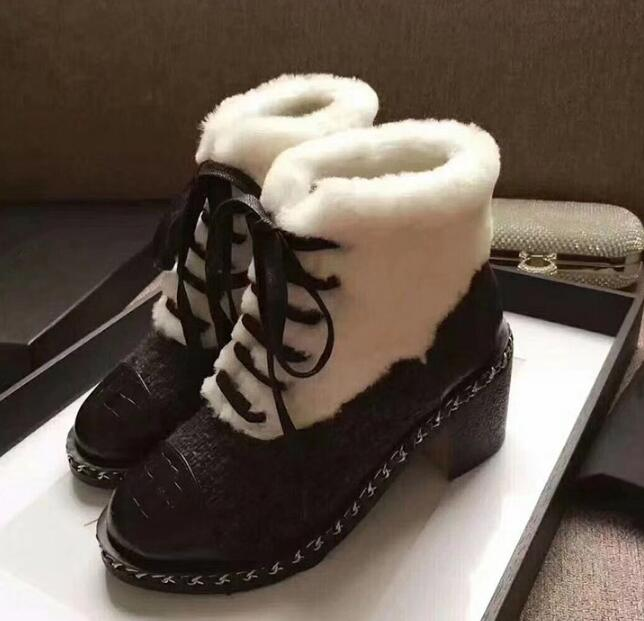2018 White Fur Med Heel Short Booties Women Winter Warm Boots Front Lace Up Shoes Luxury Brand Super Star Snow Boots brand design super star runway shoes winter ankle boots short booties zip design cow suede shoes med heel handmade women shoes