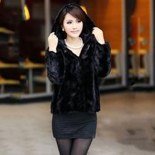 New ladies Real Mink Fur Jacket With Hooded Women's Genuine Mink Fur Short Coat Waistcoat Winter Full Sleeve Vest Black color