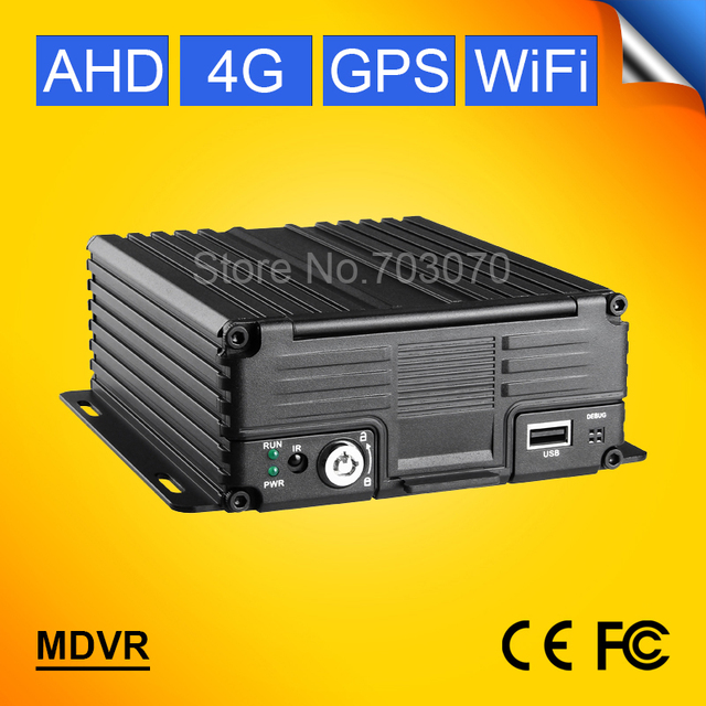 4G LTE Wifi 4CH AHD Mobile Dvr GPS Tracker Vehicle Blackbox Real Time Surveillance CCTV Dvr PC /Phone Online Video Software Free