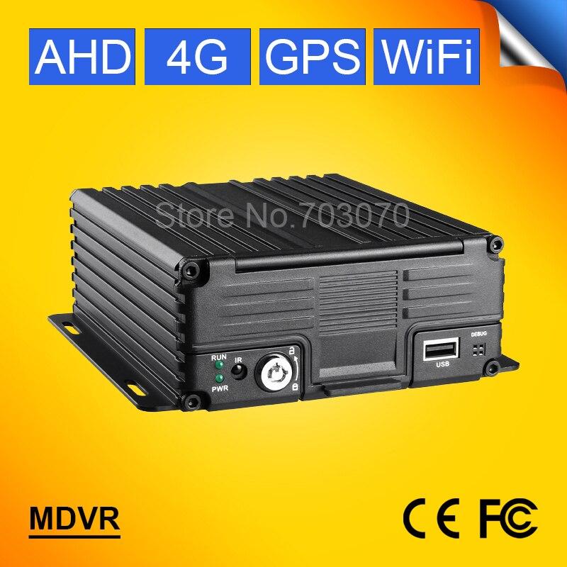 4G LTE Wifi 4CH AHD Mobile Dvr GPS Tracker Vehicle Blackbox Real Time Surveillance CCTV Dvr PC /Phone Online Video Software Free