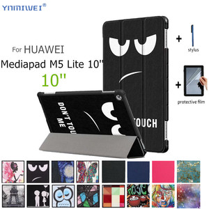"""PU Leather Case For Huawei MediaPad M5 lite 10 Tablet Case For Huawei Mediapad M5 lite 10 BAH2-W19/L09/W09 10.1"""" Cover +Films(China)"""