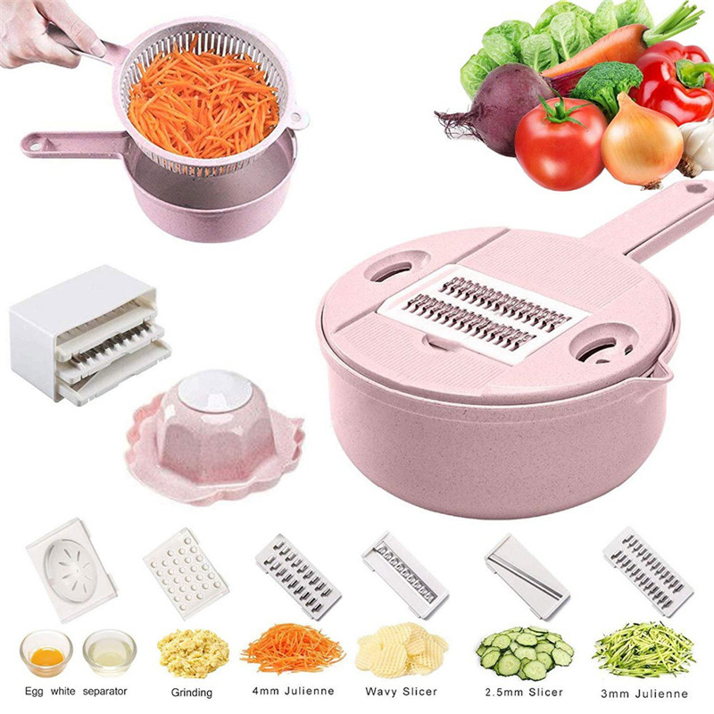 Mandoline Slicer Vegetable Slicer Potato Peeler Carrot Onion Grater with Strainer Vegetable Cutter 8 in 1 Kitchen Accessories