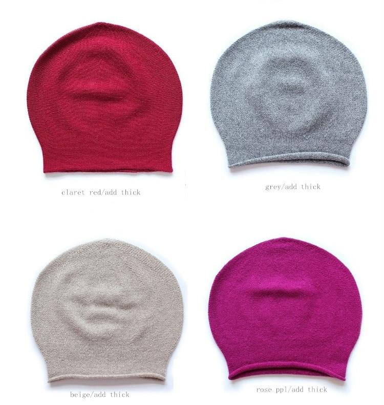 100%goat cashmere beanies hats caps big thick bonnets for unisex winter beige claret red 8color L/XL(60/65cm)