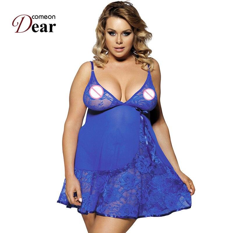 Comeondear Women Sexy Lingerie RK80158 Blue Plus Size Soft Sexy Nightdress Dress + G string Sexy Dress Porno Sexy Sleepwear