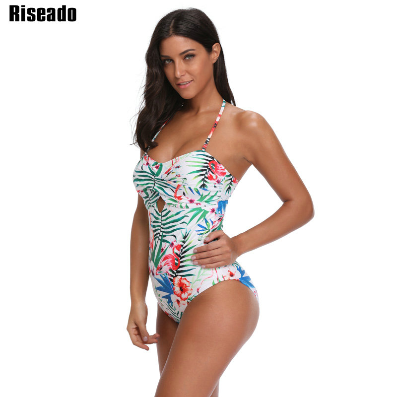 Riseado Sexy One Piece Swimsuit Female 2018 Floral Striped Printed Swimwear Women Strap Halter Bathing Suits Summer Beach vintage halter striped one piece swimwear for women