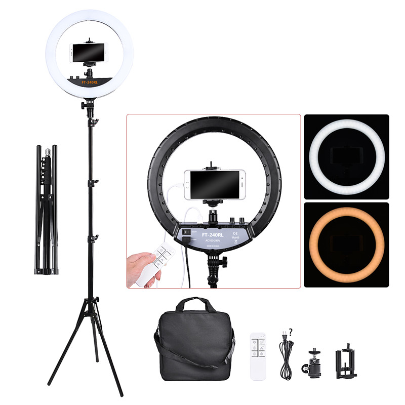 Fosoto FT-240RL 14 pouces lumière photographique anneau lampe 240 led anneau lumière trépied support et télécommande pour appareil Photo téléphone vidéo Photo studio