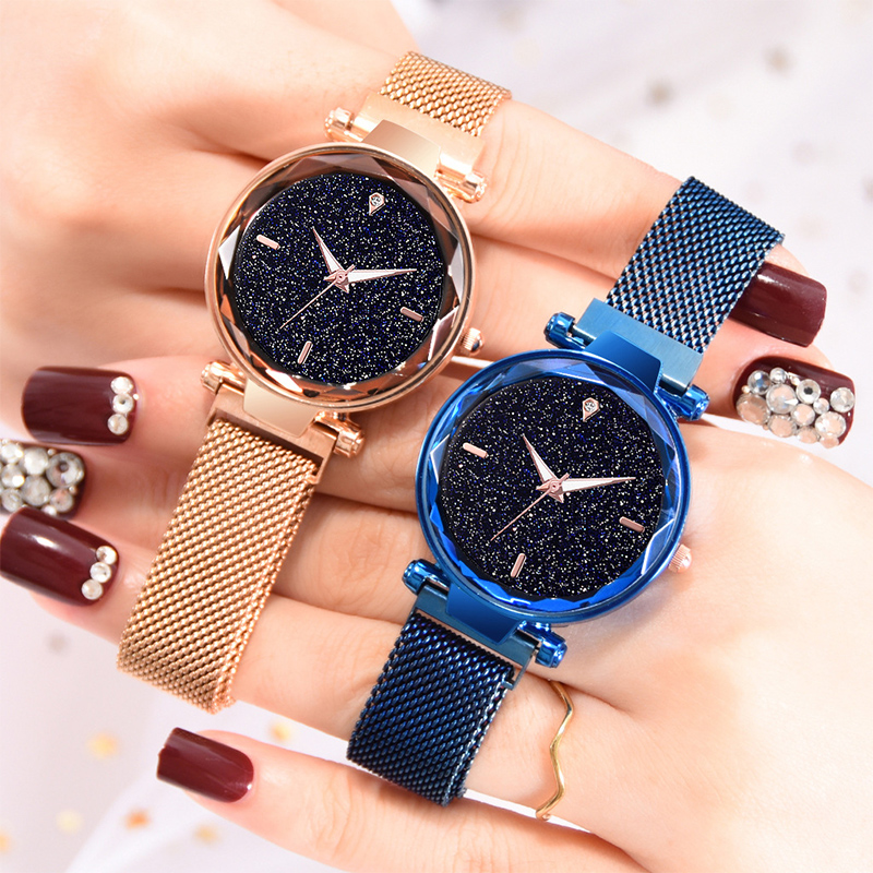 Luxury Rose Gold Women Watch Magnet Starry Sky Wrist Watch For Ladies Female Wristwatch