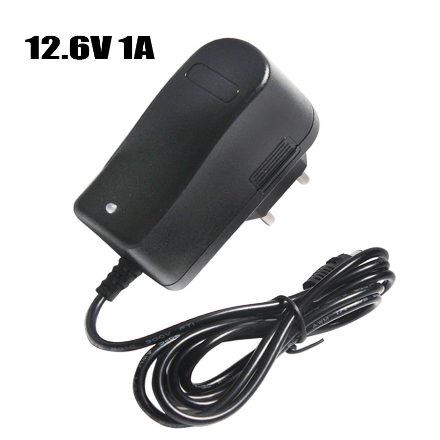 12.6V 1A Lithium Polymer Battery Charger DC 5.5*2.1mm EU/US Plug Constant Current/Voltage Series 3*18650 Lithium Charger