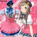 TITIVATE Caramelo de Halloween Anime Love Live Girls Fancy Maid Vestido Rosa Cosplay Disfraces Rendimiento Juego Fantasia Carnaval Uniforme