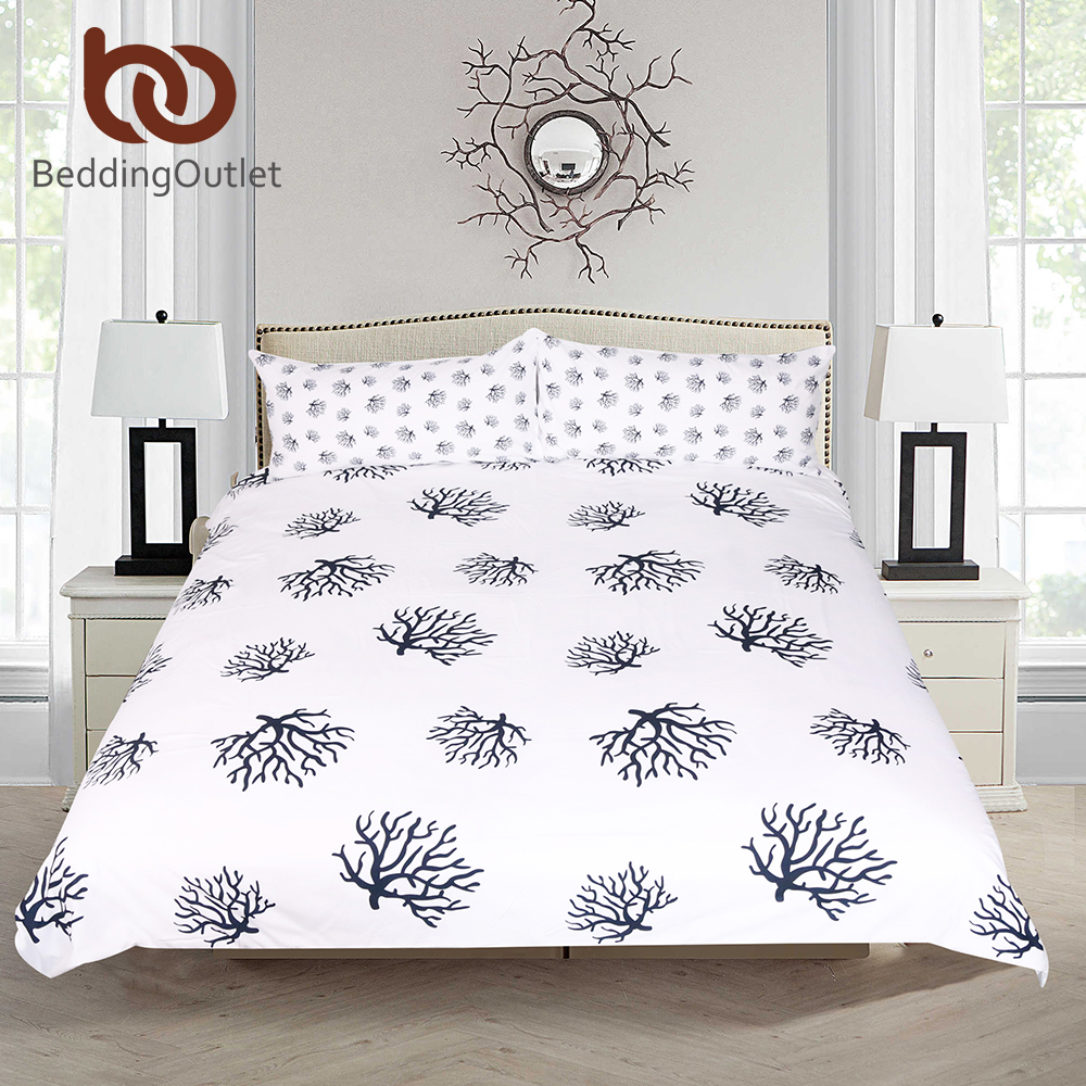 beddingoutlet coral bedding set animal printed duvet cover with pillowcase dark blue and white. Black Bedroom Furniture Sets. Home Design Ideas