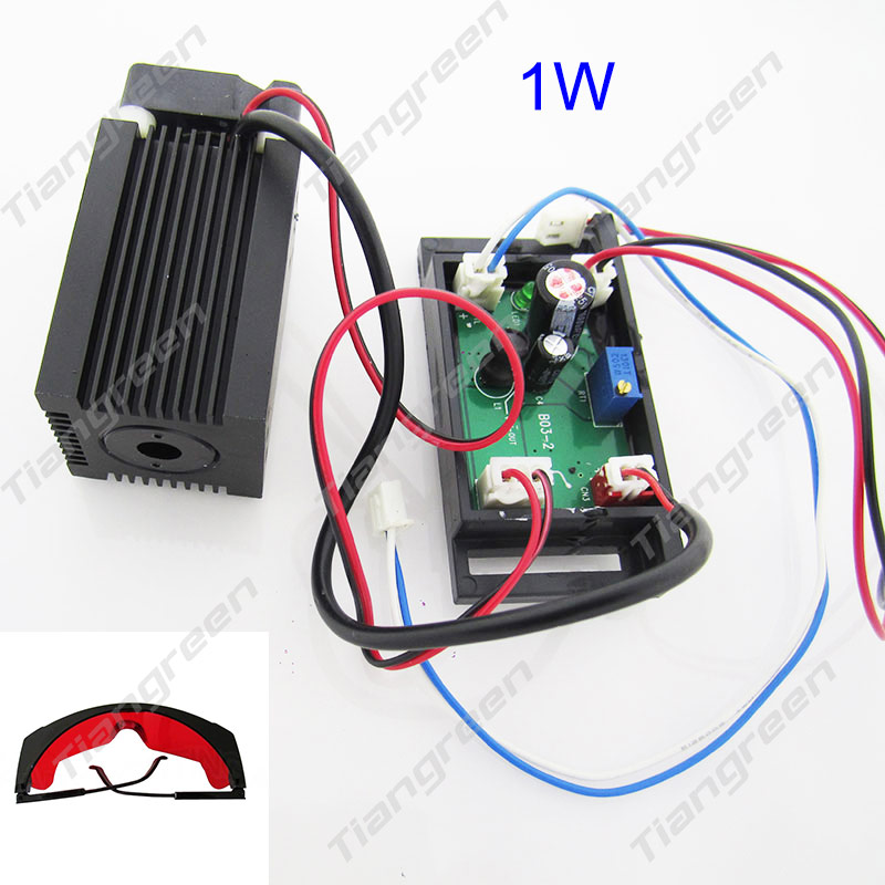 1000mw Blue Light TTL Laser Module for Engraving Machine High-power 445nm 450nm, 1W Laser Cutter, Free Goggles