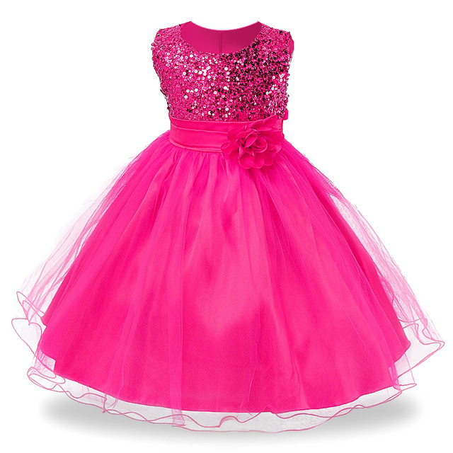3-14 yrs Hot Selling Baby Girls Flower sequins Dress