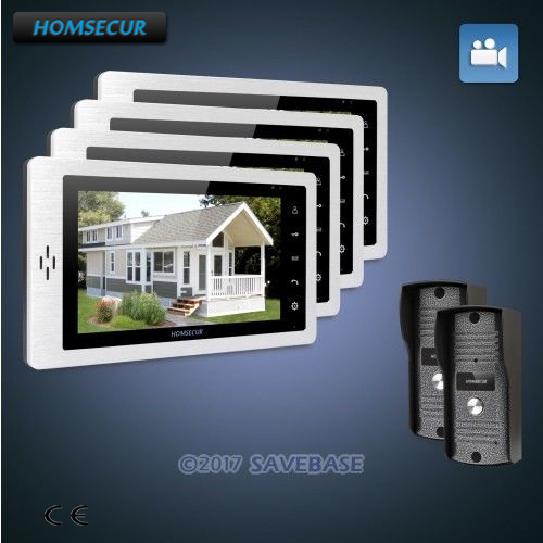 HOMSECUR 7 Video Door Phone Intercom System+LCD Color Screen for Apartment 2C4M