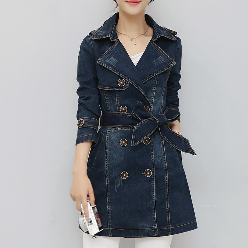 Trench   Coat 2018 Womens Coat denim Windbreaker   Trench   Female Long Sleeve Overcoat