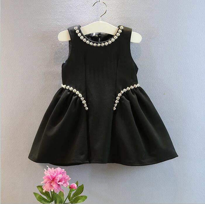 2016 Automn Winter Classic Baby Girl Black Dresses -1232