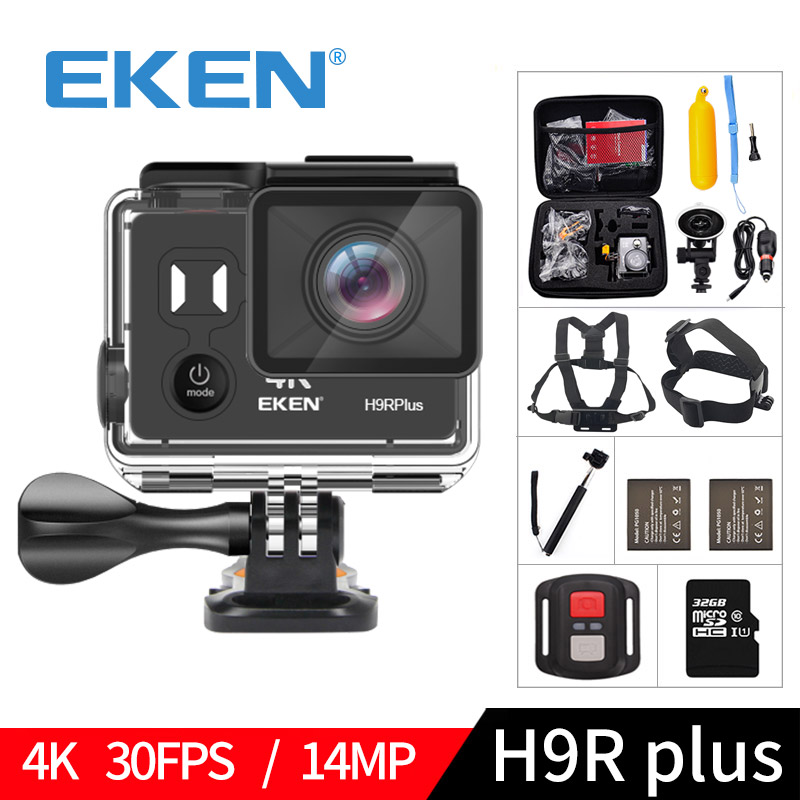 EKEN H9R plus A12 Ultra 4 k 30FPS Wifi Camera Action 30 m étanche 1080 p aller Image H9Rplus Ambarella 14MP pro sport cam