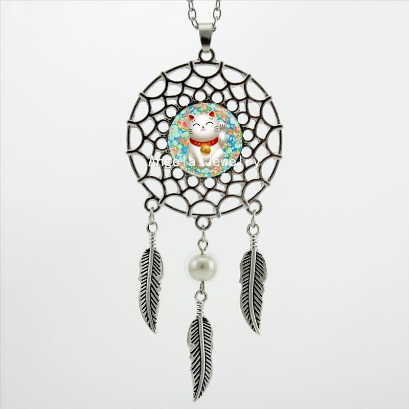 Queen Area Dream Catcher Necklace Bamboo Leaf Pendant Dangling Feather Tassel Bead Charm Chain Jewelry for Women