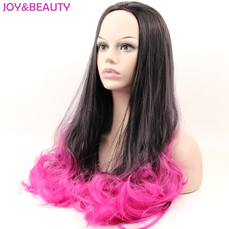 JOY&BEAUTY Hair Womens Long Wavy 3/4 Wig High Temperature Fiber Synthetic Hair Wig Natural Black Red Ombre Wigs Long 24inch