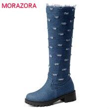 MORAZORA 2018 gran tamaño 34-52 nuevo estilo rodilla botas cremallera denim  plataforma de la moda Otoño Invierno caliente zapato. 380f659aa482c