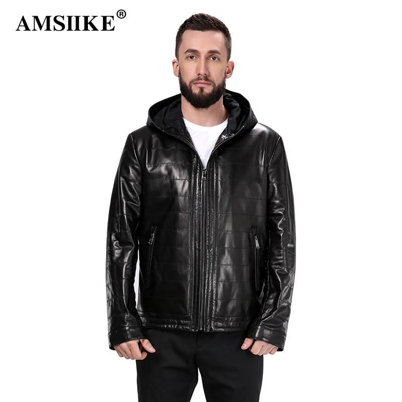 19838e6dbbf AMSIIKE 2018 Men Coat Hooded Genuine Leather Jacket New style Sheepskin  Chaqueta Black Casual Plaid Hoodie Coat A16050 M 8XL-in Genuine Leather  Coats from ...
