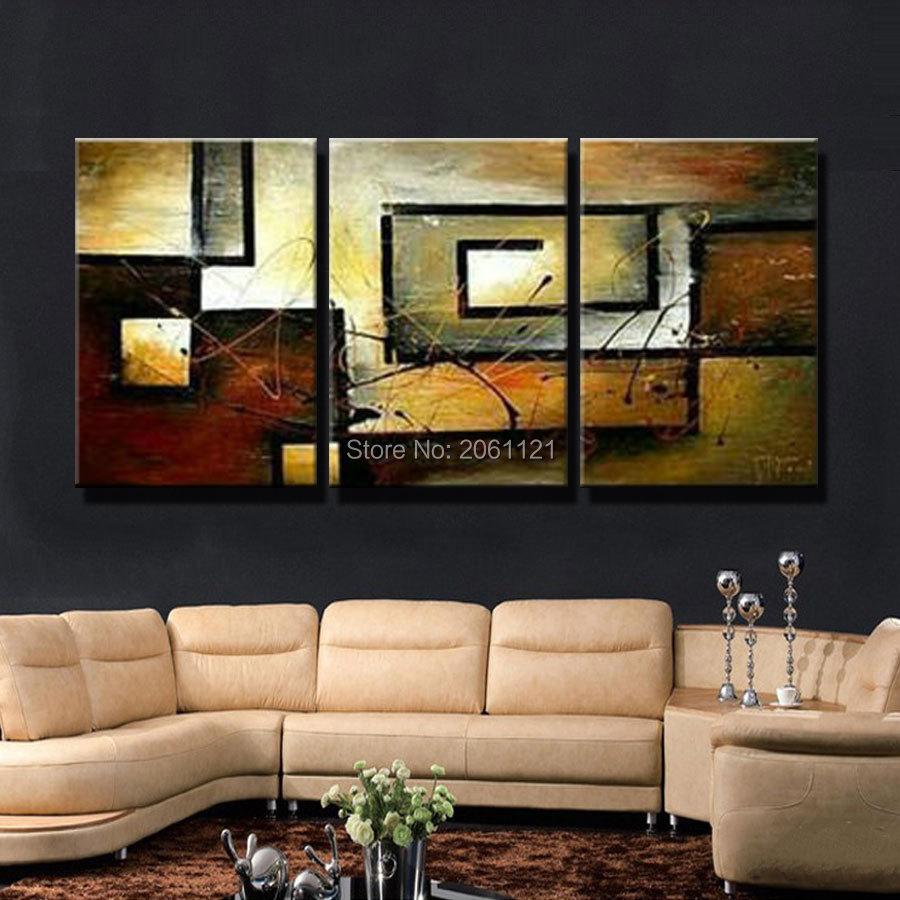 Ձեռքով պատրաստված Պատի արվեստի առաջխաղացում Ժամանակակից վերացական կտավների յուղաներկ Տուն Դեկոր Աբստրակտ արվեստի պատկերազարդ Դեկոր Կտավ նկարչություն 3 հատ / հավաքածու