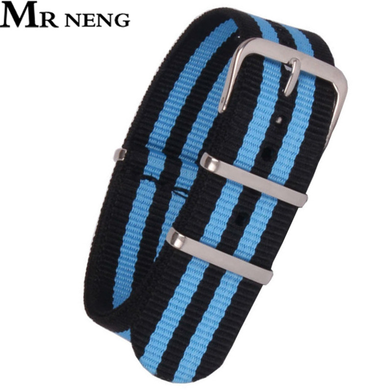 где купить MR NENG watchband 18 20 22 24MM Black Blue COLOR Nato strap Nylon Strap Watch band NATO straps watch strap 22 mm watchbands дешево