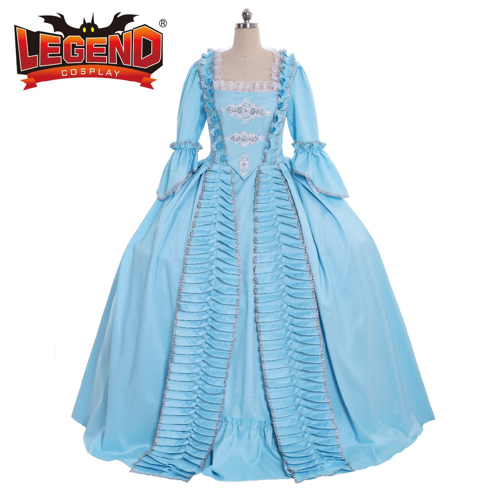 Liberaal 18th Eeuw Colonial Marie Antoinette Blauw Gown Dress Rococo 18th Century Blue Sack Terug Gown Middeleeuwse Jurk