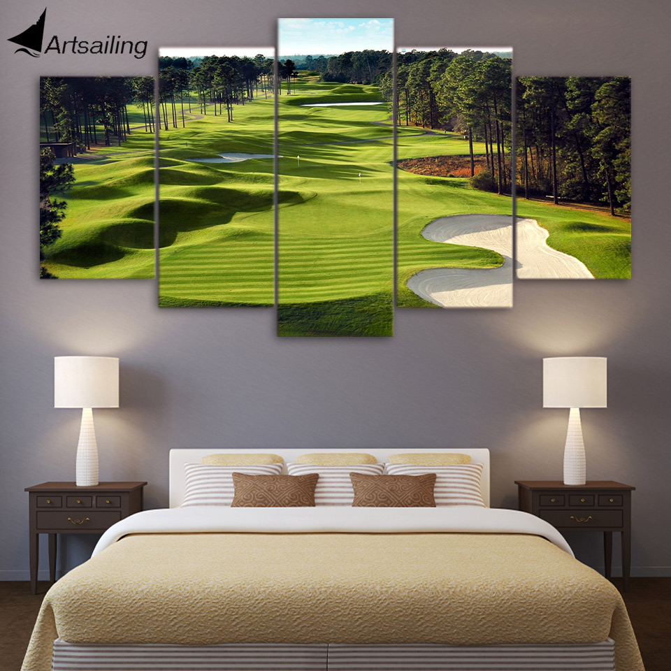Captivating Canvas Paintings Printed 5 Pieces Golf Course Wall Art Canvas Pictures For  Living Room 5 Pcs Part 7
