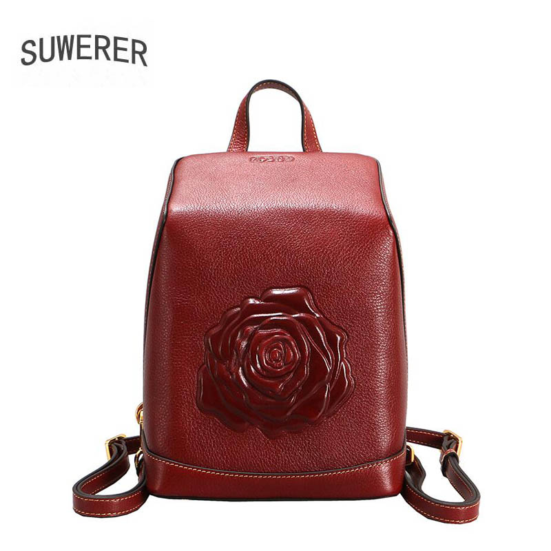 SUWERER new Genuine Leather backpack women luxury backpack embossed Flowers designer tote women backpack fashion bag faux leather flowers mini backpack
