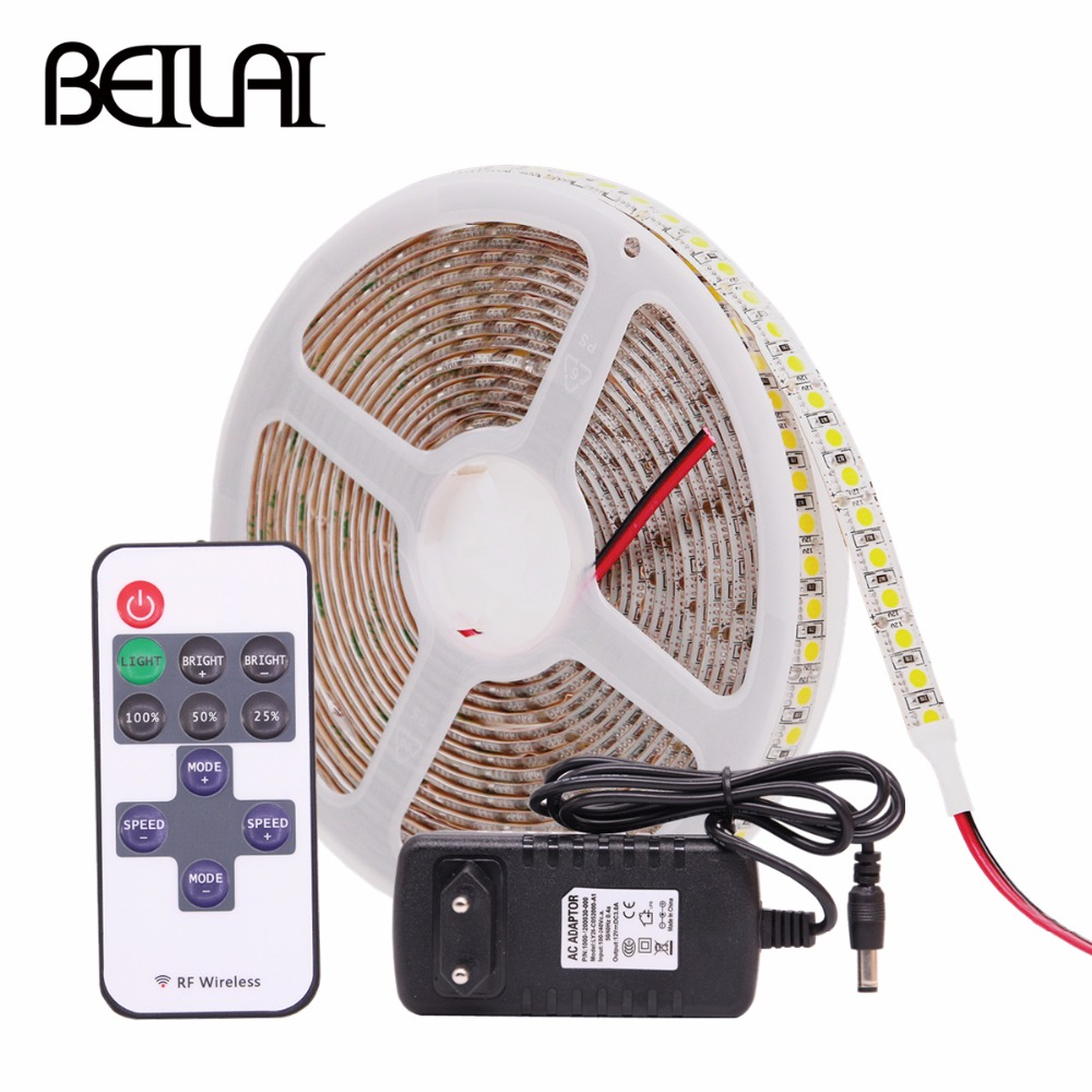 5050 RGB LED Strip Waterproof 5M 600LED DC 12V LED Light Strip Flexible Tape String Ribbon with Power and Remote Home Lighting