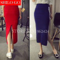 Free shipping Fashion Women High Quality Fashion Casual Warm Knitted Tight Split Pencil Knit Skirts Women Winter Long Skirts